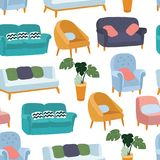House furniture pattern seamless, background home, object decoration, sofa and indoor, vector illustration. House furniture pattern seamless, background home stock illustration