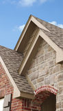 House Gables. Three roof gables at entrance of house Royalty Free Stock Photo