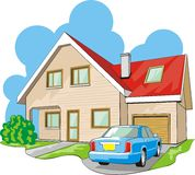 House with garage. Dwelling two-story house with garage Stock Photo