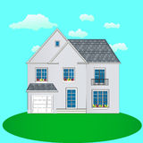 House with a garage, illustration Royalty Free Stock Images