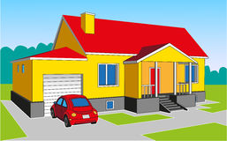 House with a garage. Image of a yellow house with a garage and a red car Royalty Free Stock Photo