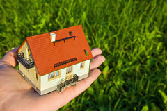 House with garage on palm on background of herb Stock Images