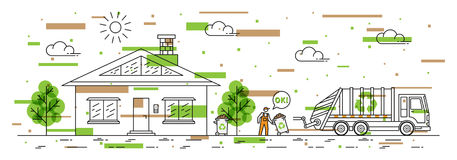 House and garbage truck with recycle sign vector illustration Stock Image
