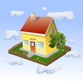 House with a garden in the clouds. Vector Stock Images