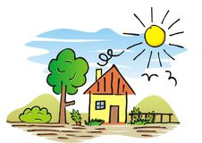 House and garden, hand drawing. Vector illustration, landscape. Colored picture. At background mountain, birds and sun vector illustration
