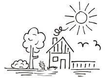 House and garden, hand drawing. Vector illustration, landscape. Contour drawing. Black outline. At background birds and sun.n vector illustration