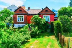 House with garden in Old city center Vilnius. House with garden in the Old city center in Vilnius, in Lithuania royalty free stock photography