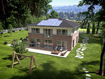 House with garden and solar panels on roof. 3d rendering Stock Image