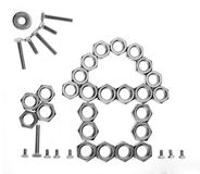 House,garden and sun icon. Female screws and screws building the icon for house and garden Royalty Free Stock Photos