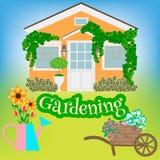 House, garden wheelbarrow, watering can and garden plants Stock Images