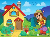 House and gardener 1 Stock Photo