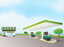 A house and a gas station. Illustration of a house and a gas station in a beautiful nature Royalty Free Stock Photos