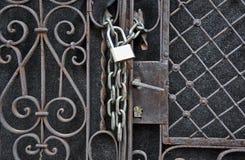 House gate padlock Royalty Free Stock Photos