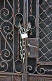 House gate padlock Stock Photo