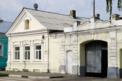 House with a gate in the province in Russia Stock Images