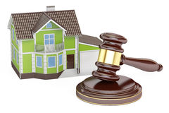 House with gavel, auction concept, 3D Royalty Free Stock Photos