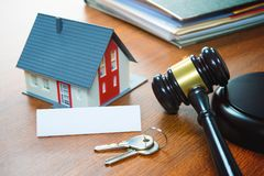 House with a Gavel. Foreclosure, real estate, sale, auction, bus. Iness, buying concept Stock Photos