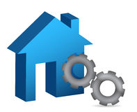 House and gear illustration design Royalty Free Stock Image
