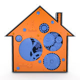 House with gears, 3D Stock Photo