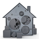 House with gears, 3D Royalty Free Stock Photos