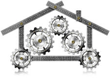 House with Gears - Metallic Meter Royalty Free Stock Photography