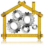 House Gears - Wood Meter Tool. Wooden yellow meter tool forming a house with metal gears stock illustration