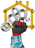 House with Gears - Wooden Meter. Hand with work glove holding a yellow wooden meter ruler in the shape of house with gears, symbol of house industry. Isolated on stock illustration