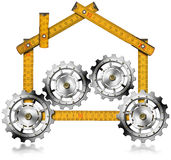 House with Gears - Wooden Meter. Meter wooden ruler in the shape of house with gears, symbol of house industry. Isolated on a white background stock illustration