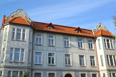 House of the German construction in modernist style 1905. Kaliningrad.  stock images
