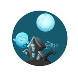 House with ghosts. Game Design. Vector illustration Stock Image