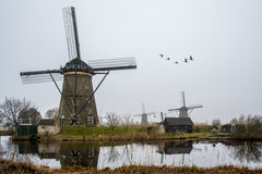 House and the Giant windwill of Netherlands Stock Photos