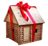 House in a gift. House model tied up by ribbon Stock Photography