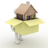 House in a gift. 3D image. Stock Images