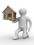 House in a gift. 3D image. Isolated illustrations Stock Images
