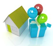 House with gift and ballons. On white background Stock Photo