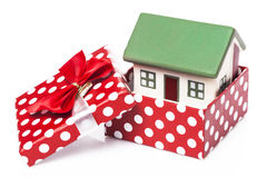 House in gift box. Isolated on white background Royalty Free Stock Photos