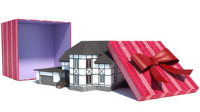 House in gift box with red ribbon. 3D Royalty Free Stock Photo
