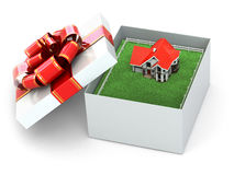 House in the gift box. Royalty Free Stock Photos