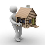 House in a gift. isolated illustrations Stock Photos