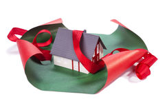 House in gift paper Royalty Free Stock Images