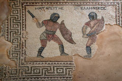 House of Gladiators. Fragment of mosaic floor in Kourion, Cyprus Stock Images