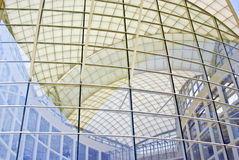 House of Glass. Abstract patterns formed by reflections of modern architecture stock image