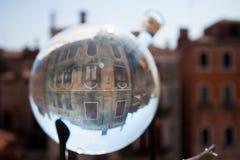 House glass bowl, Venice, Venezia, Italy, Italia. Venetian house seen through a glass bowl lens, Venice - Venezia, Italy - Italia at night stock photography