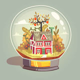 House in glass globe Stock Image