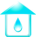 House and glossy water drop Royalty Free Stock Images