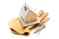House, Gloves and Nails Royalty Free Stock Photo