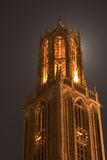 House of God. Cathedral of Utrecht backlit by the moon Royalty Free Stock Images