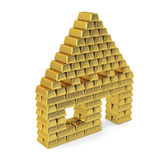 House from gold bars, perspective. Royalty Free Stock Photography