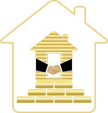 House with gold bricks and handshake. Symbol rich house with golden bricks and handshake Stock Photo