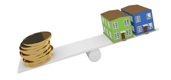 House and gold coins Stock Photos